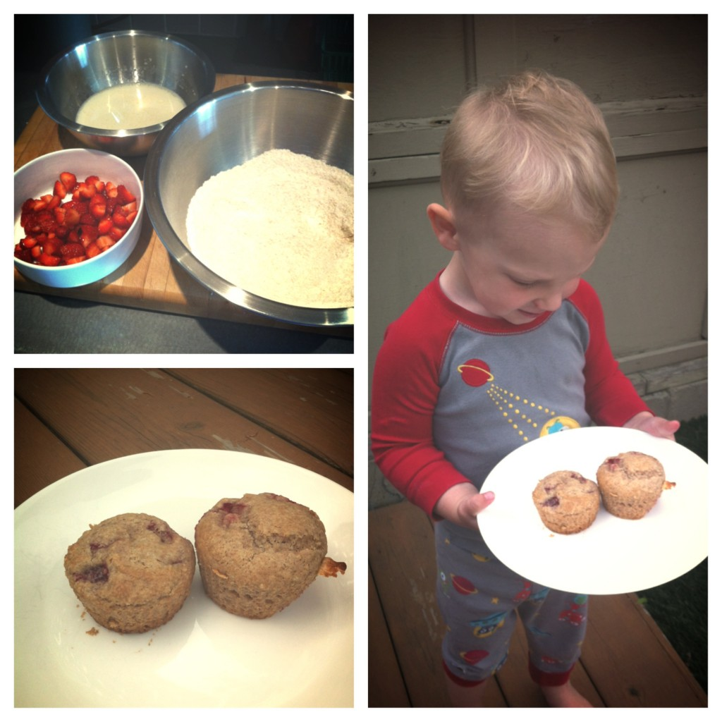 Fresh strawberry spelt muffin